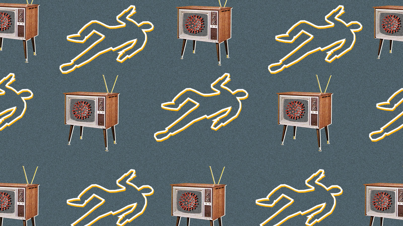 A repeating pattern of body outlines and televisions with the coronavirus on the screen