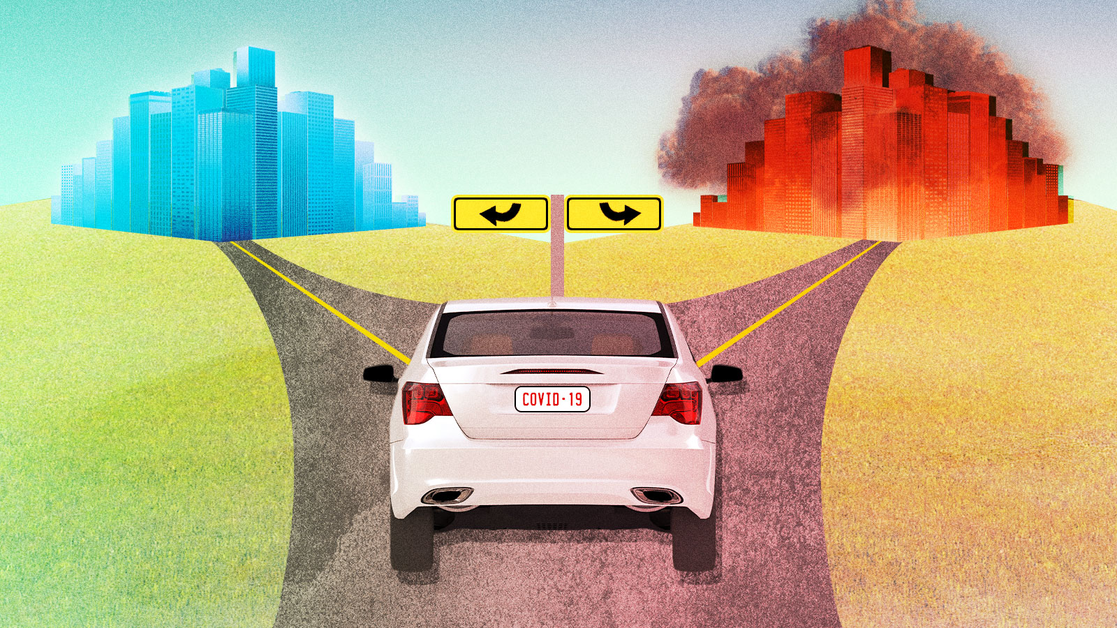 A car at a crossroads leading to a clean city and a city covered in smog