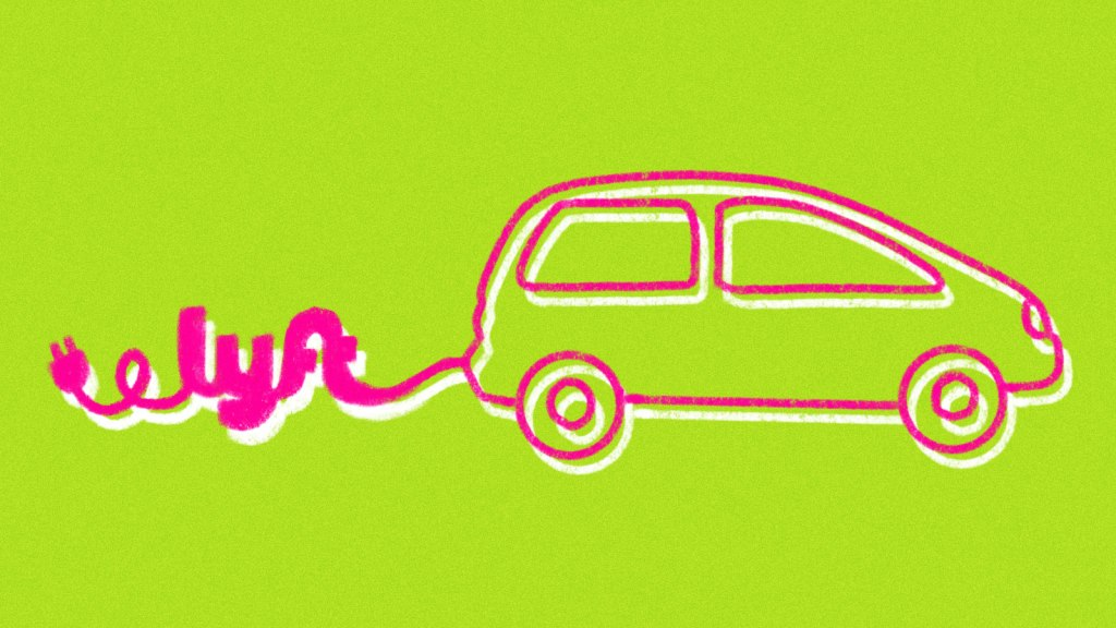 A drawing of an electric vehicle with a cord in the shape of the Lyft logo