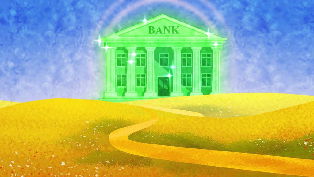 A bank in the style of the Emerald City in The Wizard of Oz
