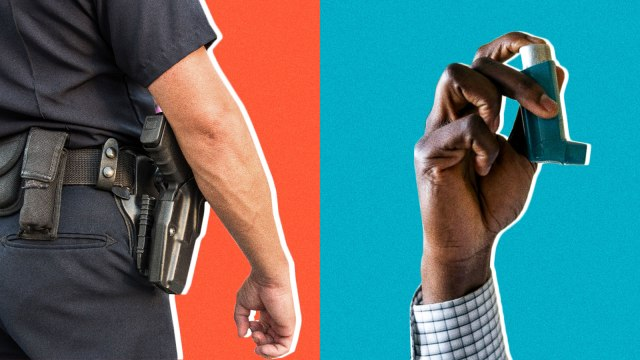 A split screen of a police officer from behind and a black man's hand holding an asthma inhaler