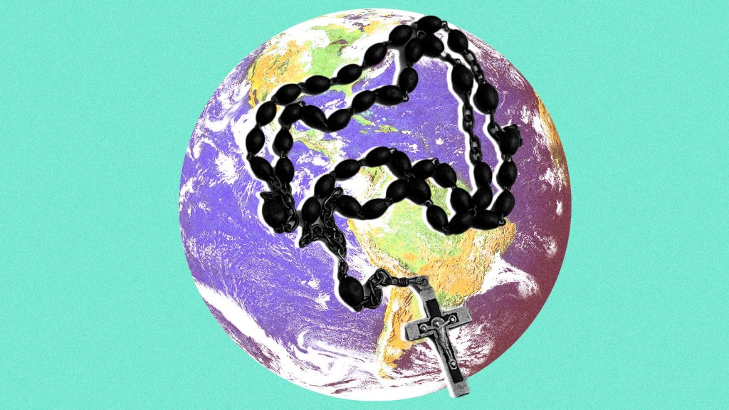 An image of planet Earth with a rosary on top of it