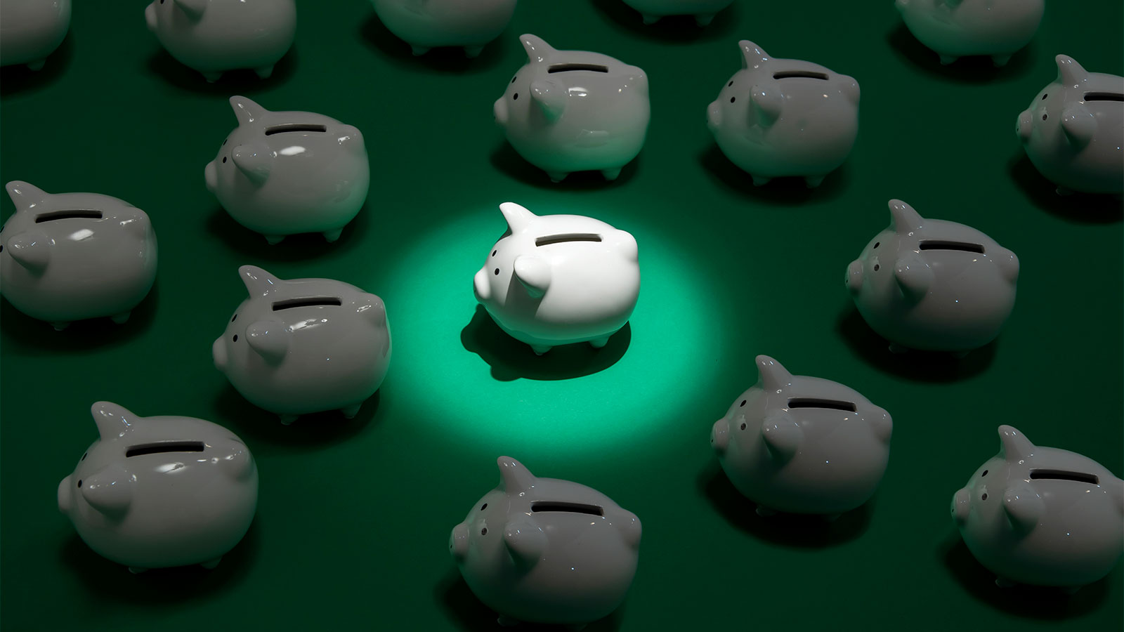 Many small white piggy banks on green surface with one piggy bank being spot lit