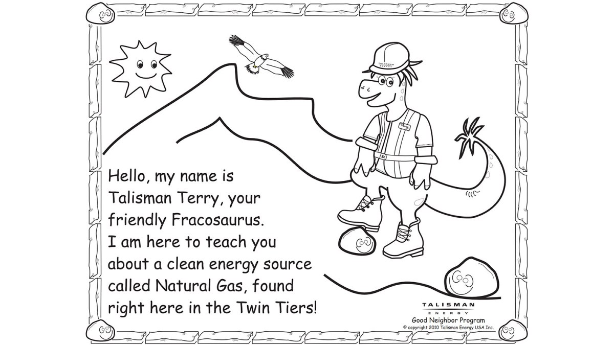 "A coloring book page of ""Talisman Terry, the friendly Fracosaurus"", which is a dinosaur that enjoys fracking apparently"