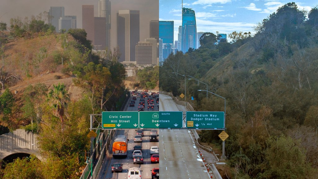 A split screen of a Los Angeles freeway with heavy traffic and smog on the left, and an empty freeway on the right