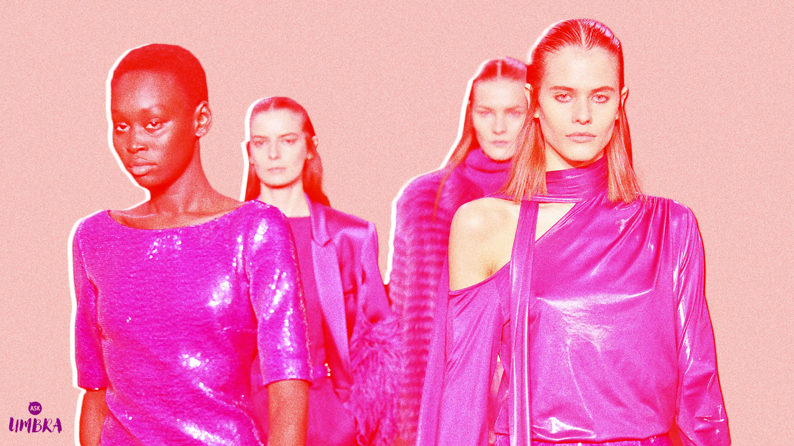 Three white models and one black model against a pink background