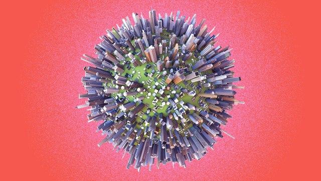 A sphere covered in city buildings that looks like the novel coronavirus.