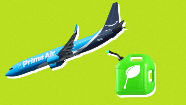 An Amazon Air airplane with a gas can that has a leaf on it