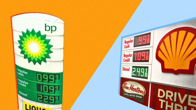 A split screen of a BP gas sign and a Shell gas sign, both with gas prices under one dollar per gallon