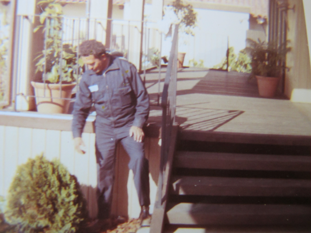 A photo of the author's father when he worked as a gardener in Santa Barbara, California
