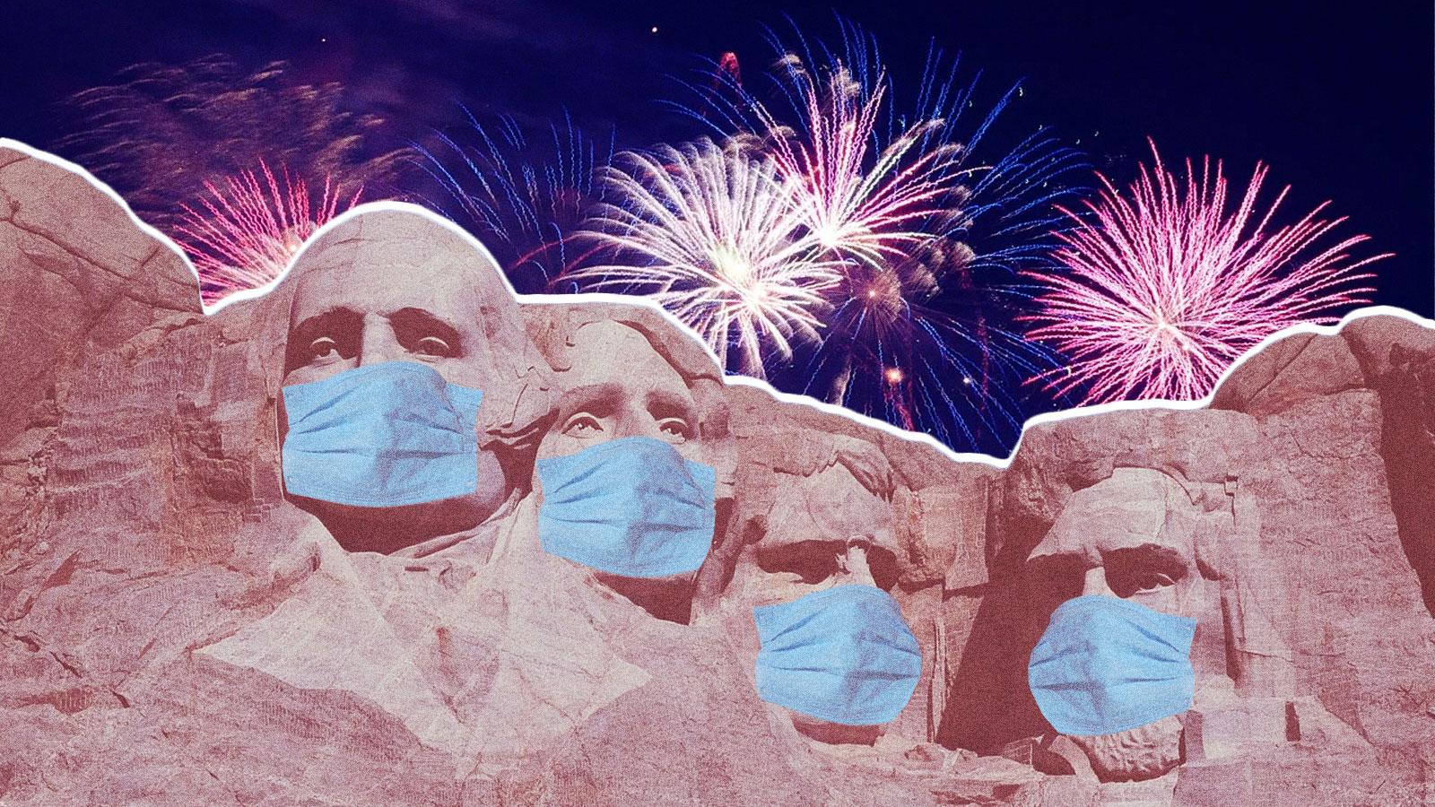 Fireworks behind Mount Rushmore