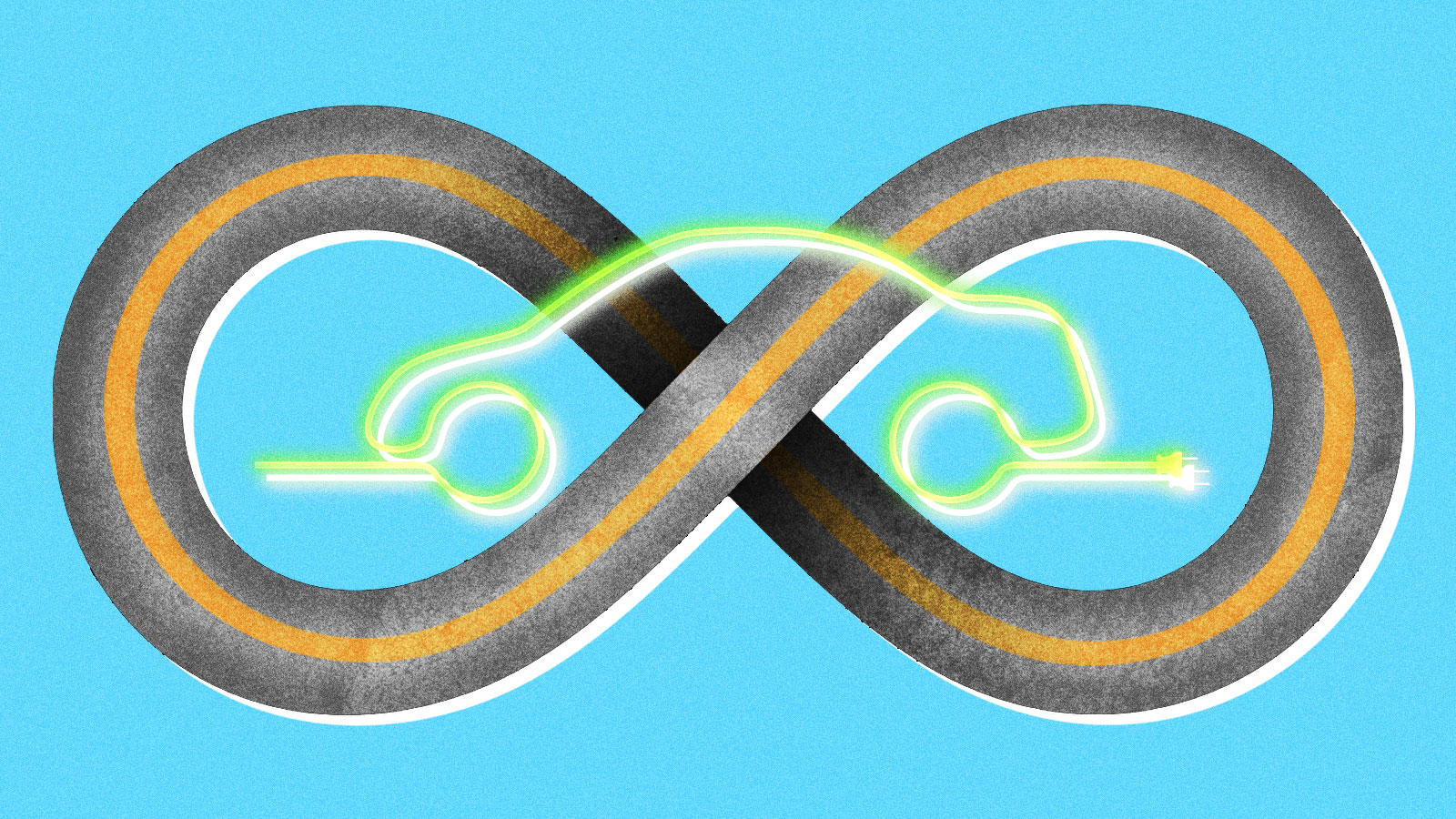 A road in the shape of an infinity symbol with a neon outline of a car with a power cable