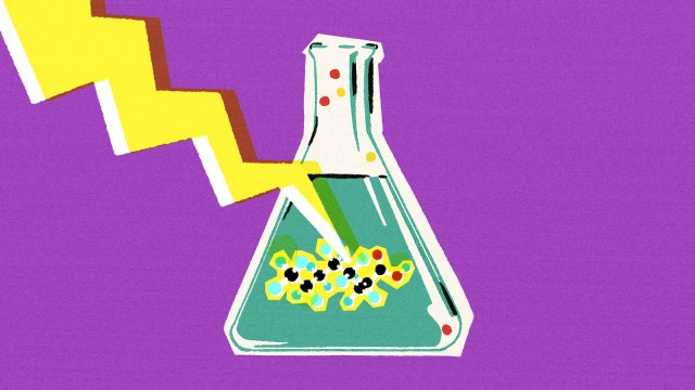 An illustration of a beaker with a molecule representing PFAs being struck by lightning