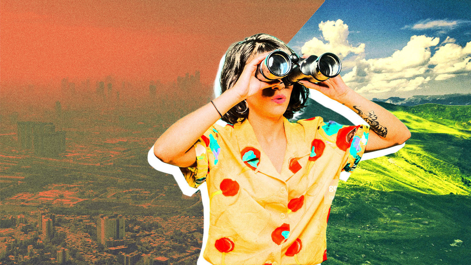 A woman looking through binoculars with a split screen of a smoggy city and green valley behind her