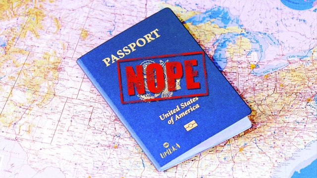 "A US passport with the word ""nope"" stamped on it on top of a map."