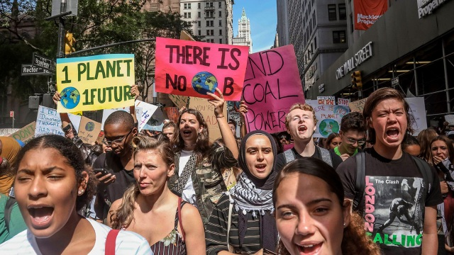 Youth climate activists protesting