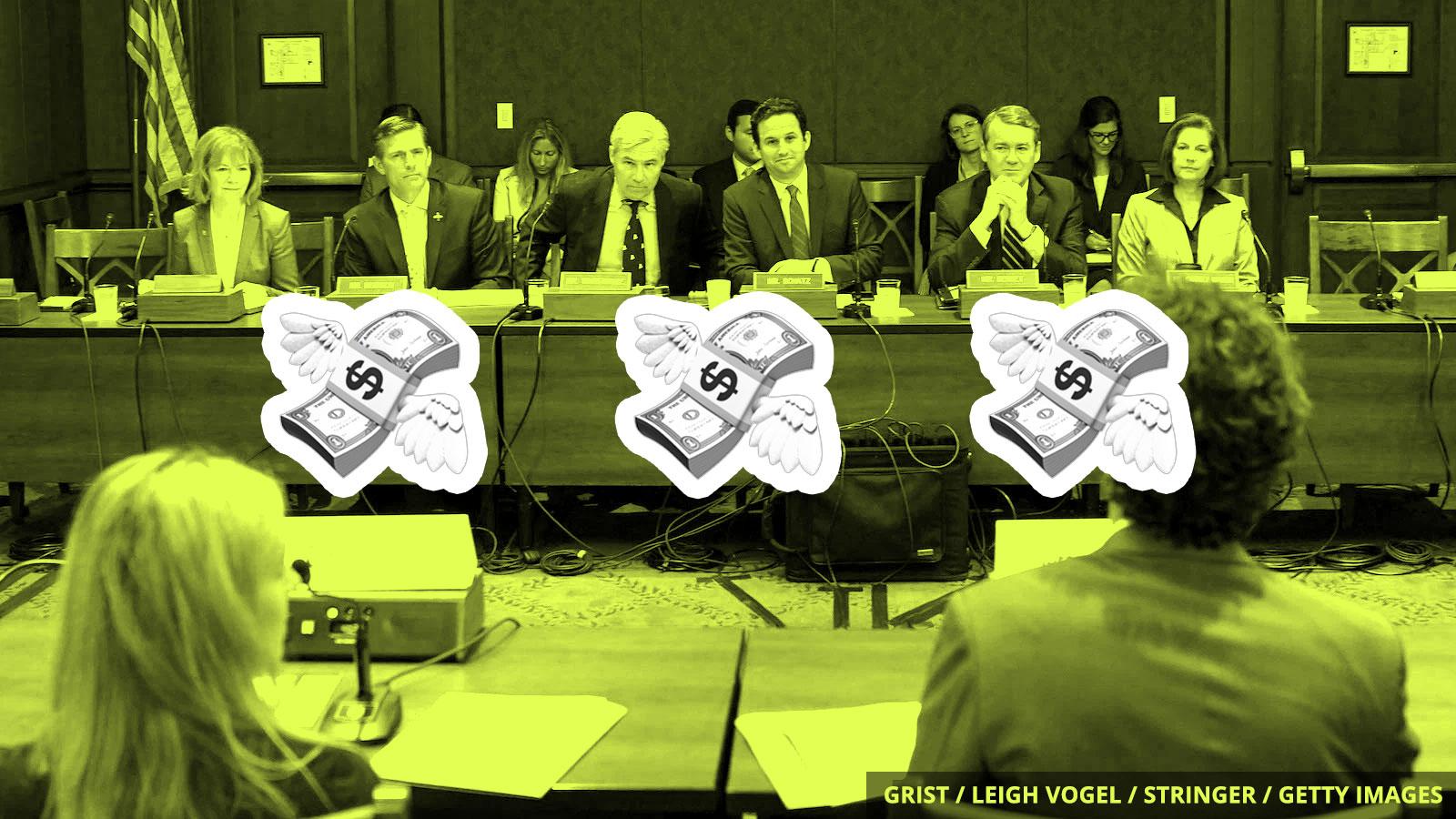 Flying dollar bills in front of a committee of senators.