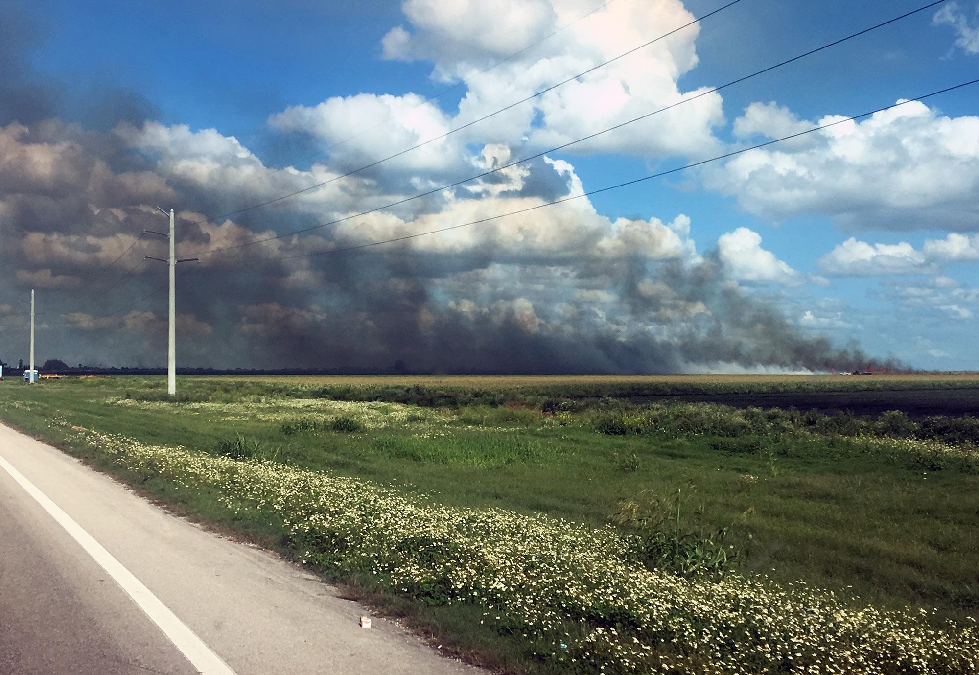 Smoke from a sugarcane burn darkens a clear sky near South Bay.