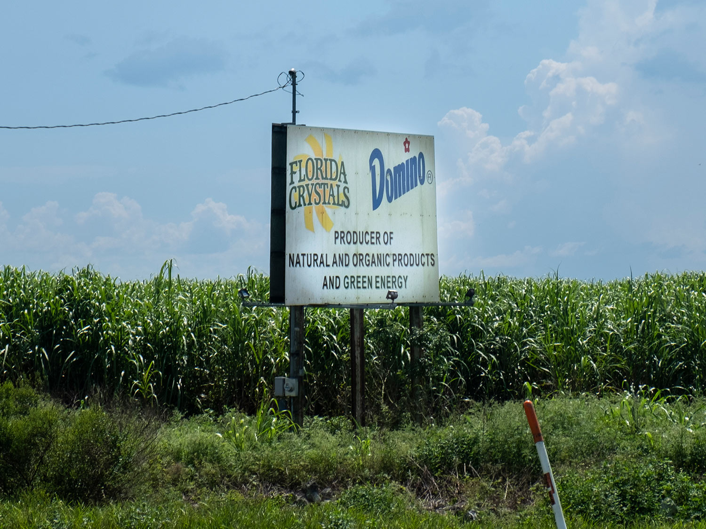 A sign near a Florida Crystals plant south of South Bay, Florida