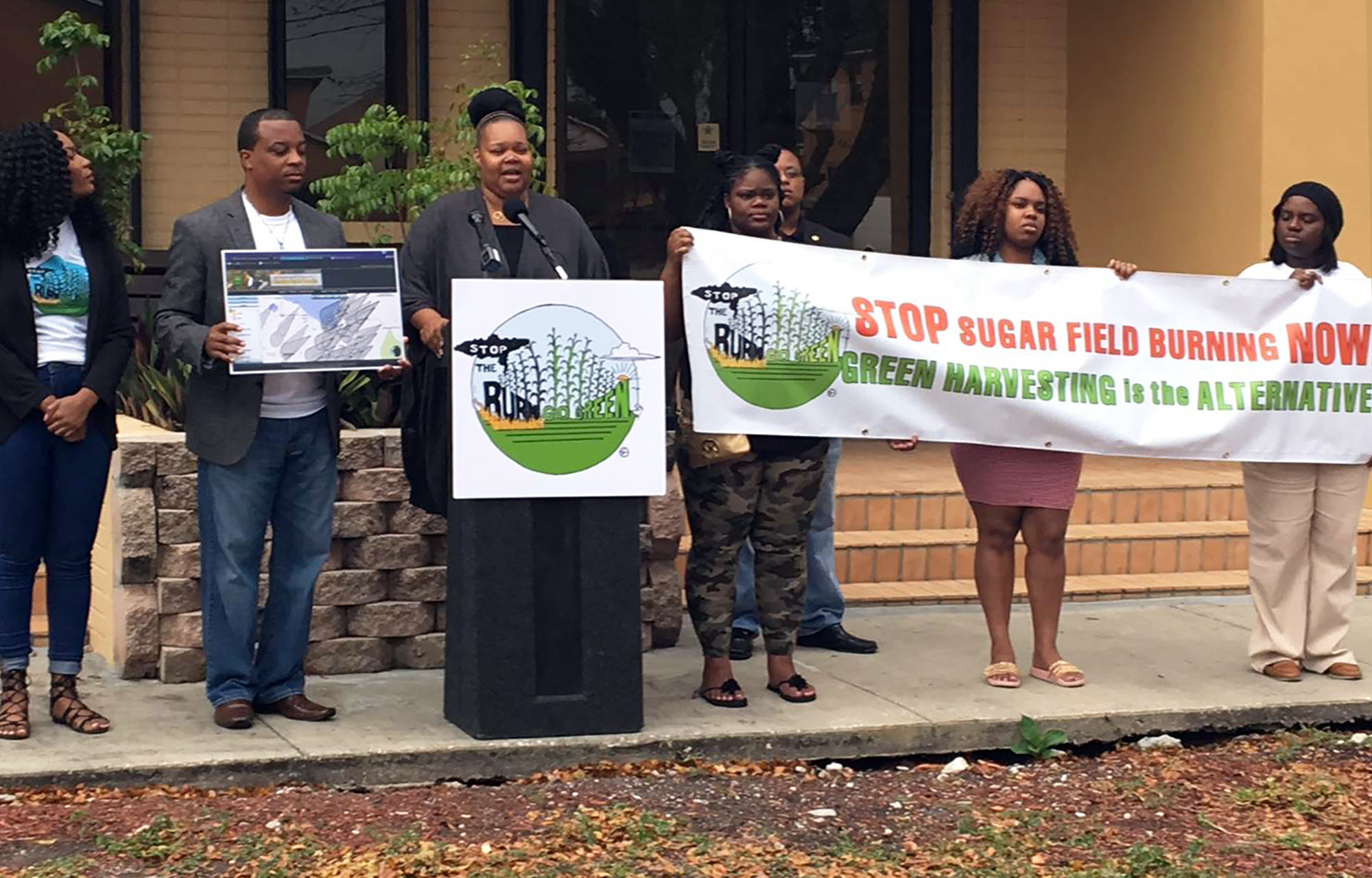 Kina Phillips speaks at a 2017 press conference outside Belle Glade City Hall