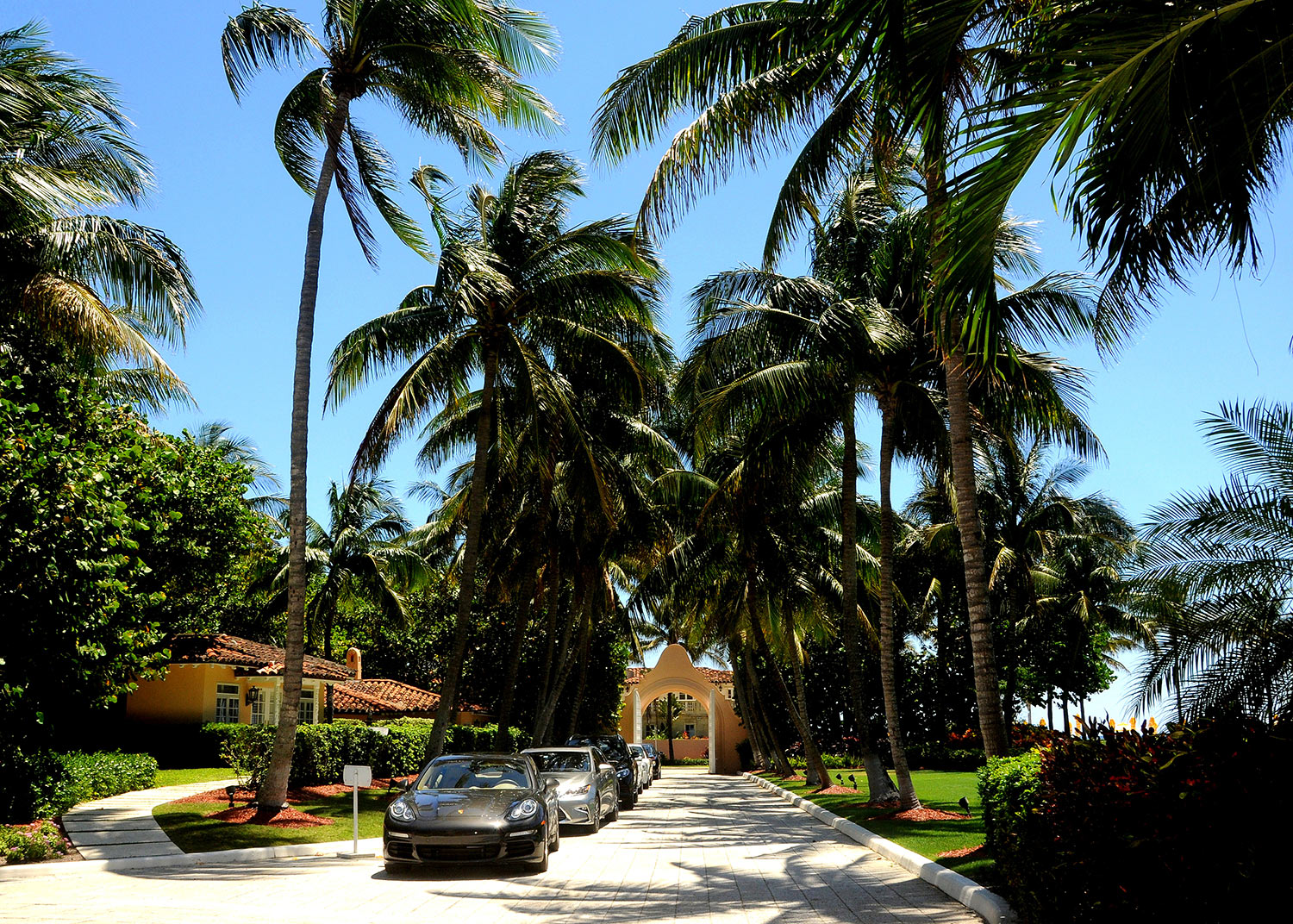 Sports cars line a driveway at President Donald Trump's Mar-a-Lago resort in Palm Beach, Florida.