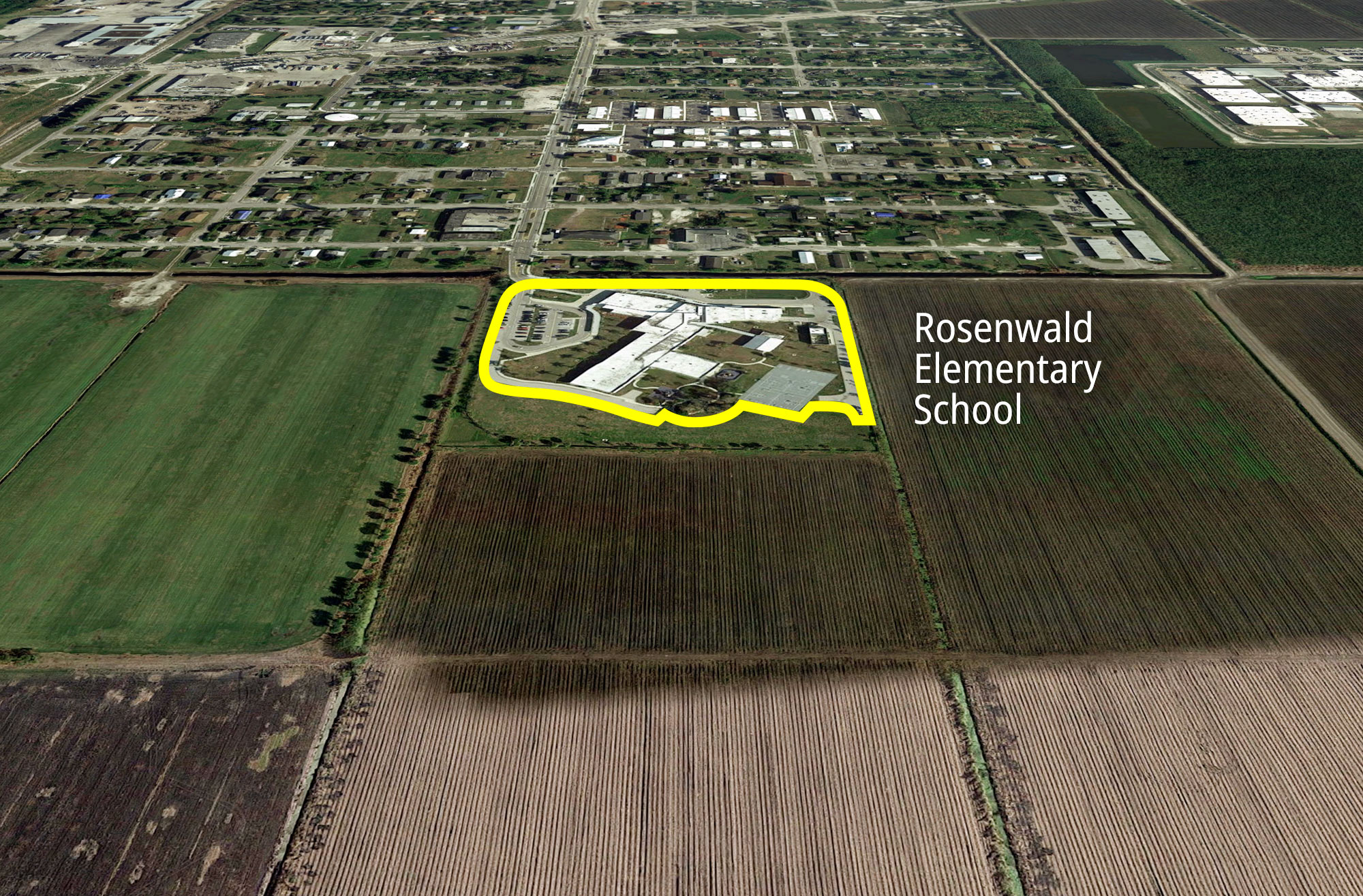 Rosenwald Elementary School in South Bay is adjacent to nearly eight acres of sugarcane stalks. Students are often unable to play outside due to smoke from sugarcane burns.