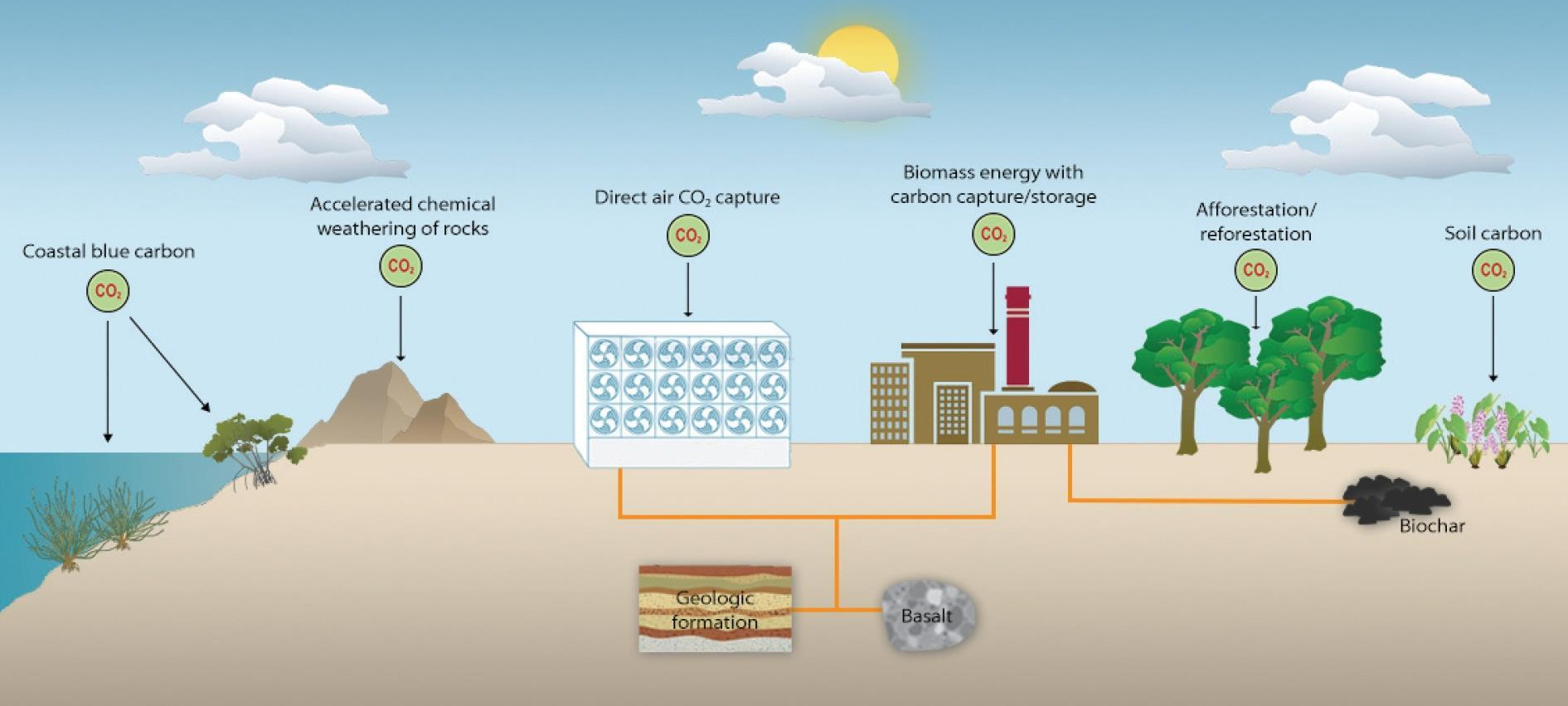 a diagram showing types of CO2 removal