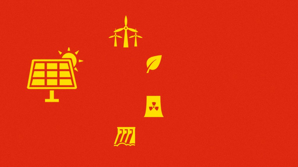 A stylized version of the Chinese flag with green energy icons in place of the stars