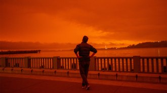 A man stares out at the orange sky in San Francisco, California.