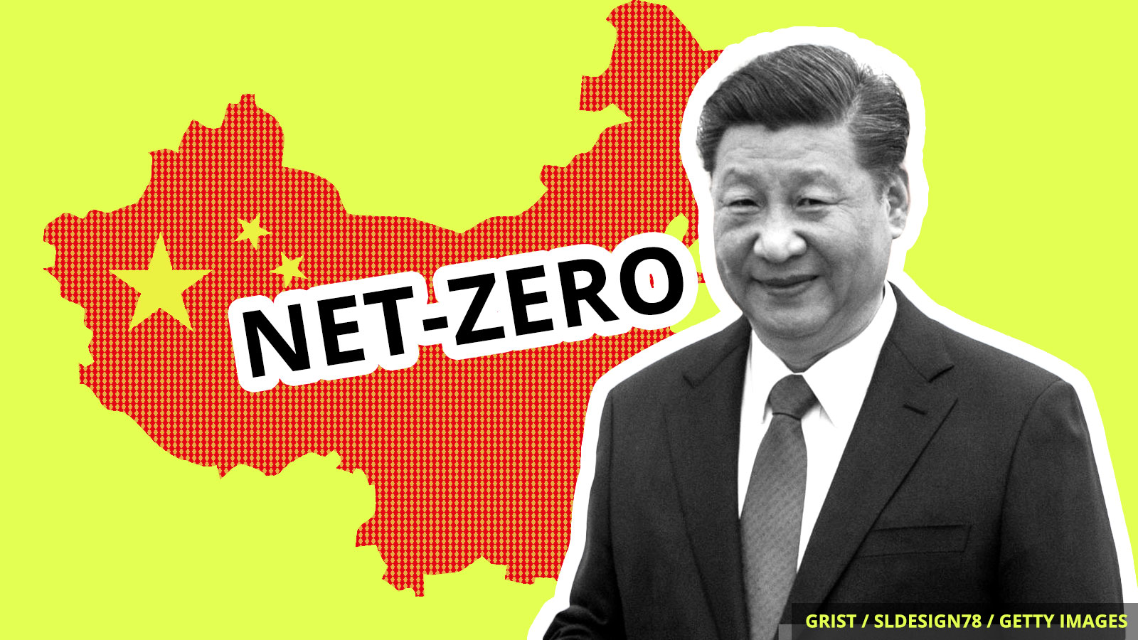 "President Xi Jinping stands before a cut-out of China reading ""net-zero."""