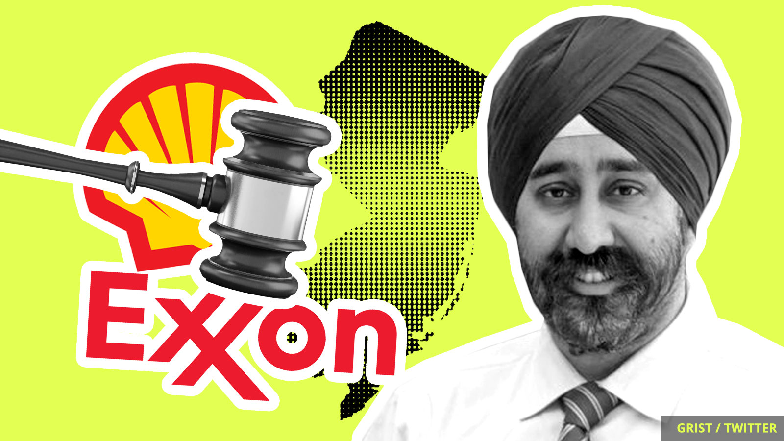 The mayor of Hoboken, New Jersey, a gavel, and logos of Shell and Exxon.