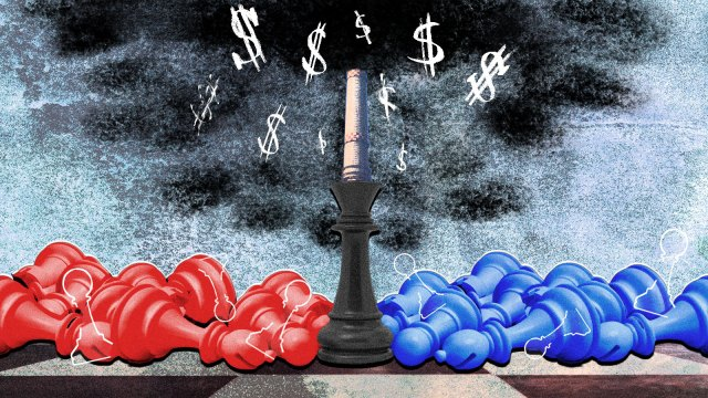Blue and red chess pieces have fallen over in front of a power plant spewing climate pollution.