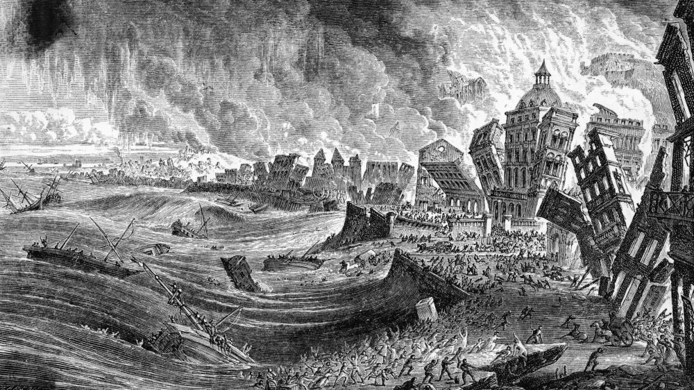 A black-and-white drawing shows old buildings tumbling as the sea rushes in.