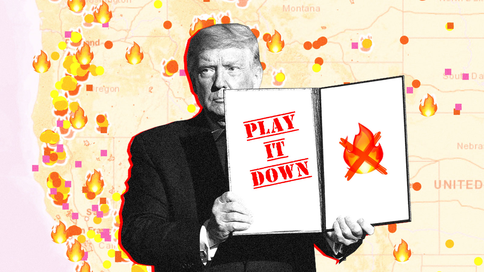 Illustration Donald Trump play it down wildfires