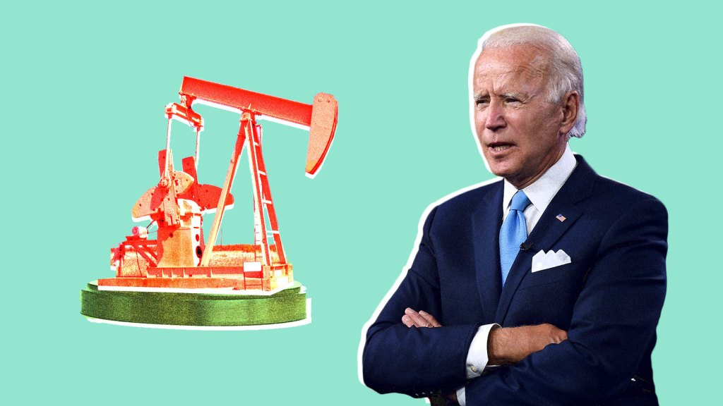 Joe Biden stands in a collage next to an oil pumpjack to represent oil and fracking.