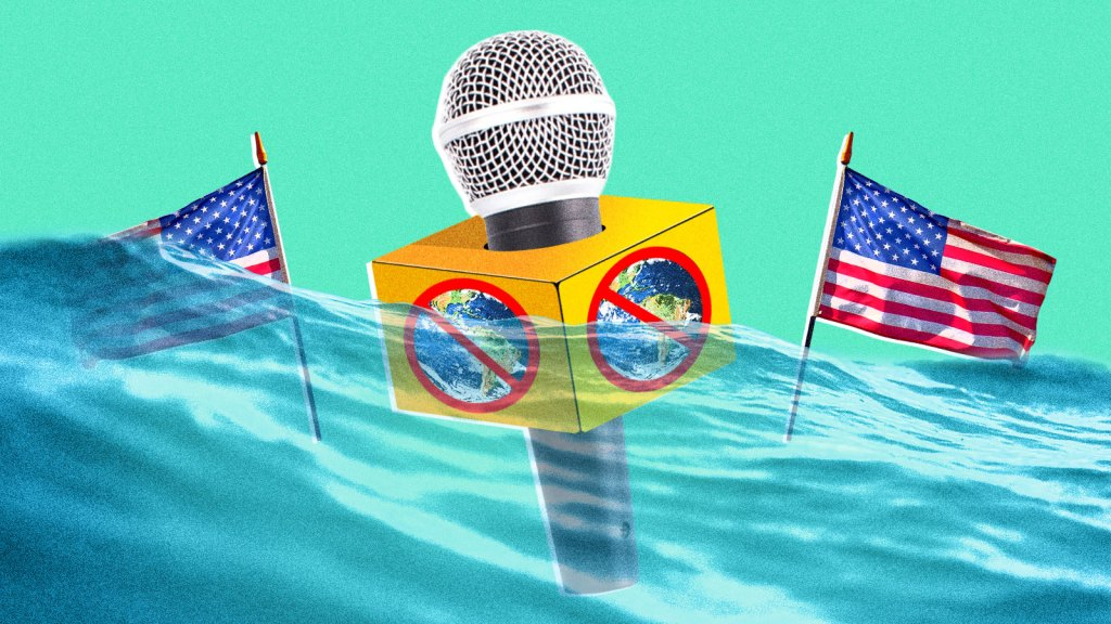 A microphone with the earth crossed out on it and two American flags underwater