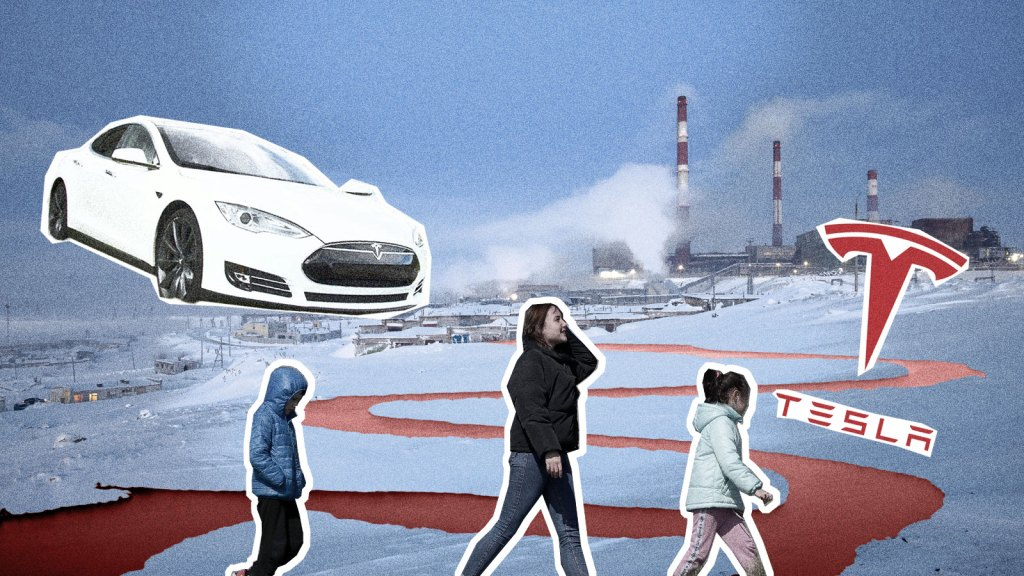 Collage of Nornickel plant Tesla EV