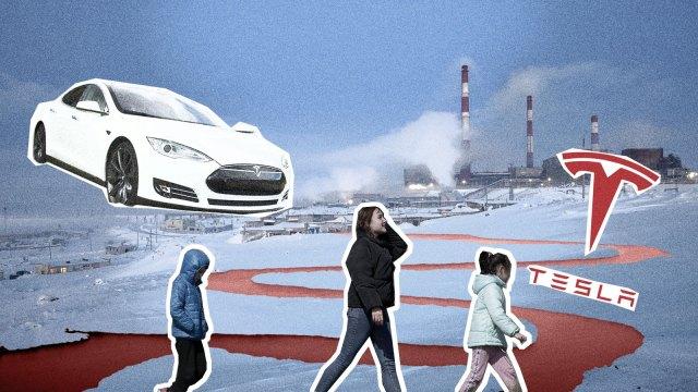 Collage of Nornickel plant Tesla EV