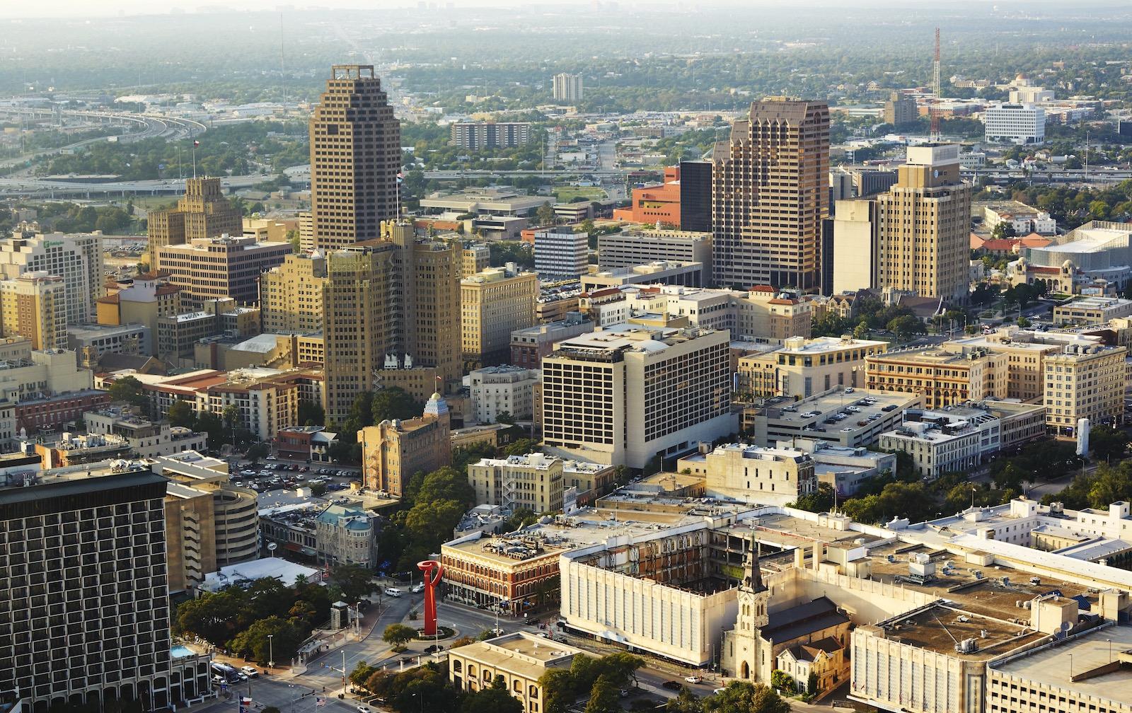 City skyline of San Antonio.
