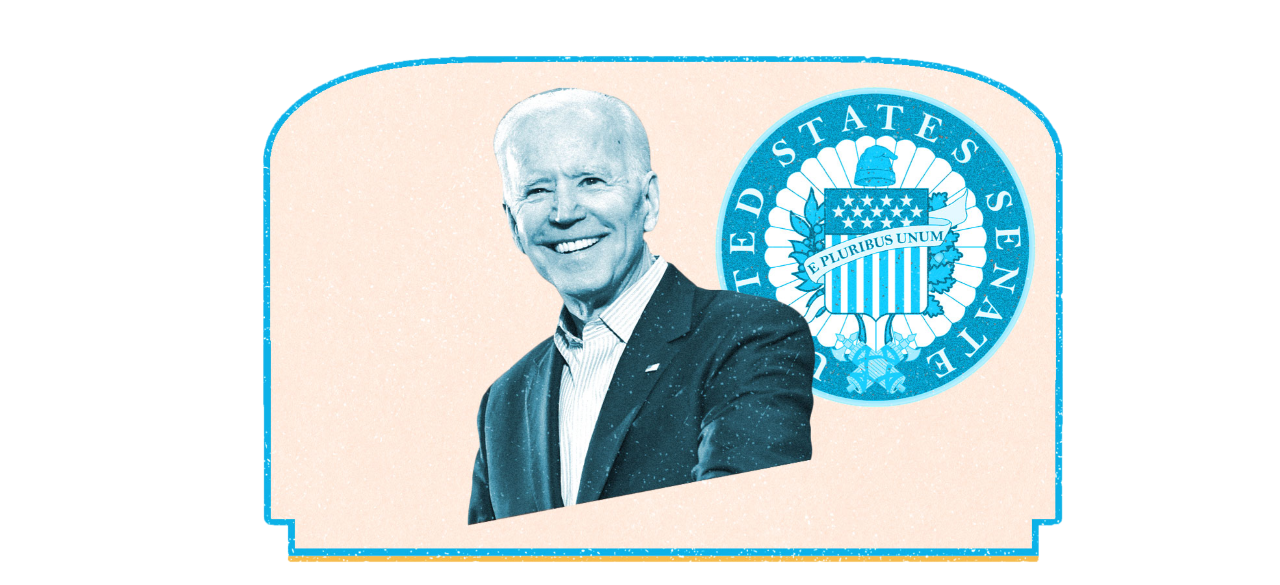 Biden smiling in front of blue senate seal
