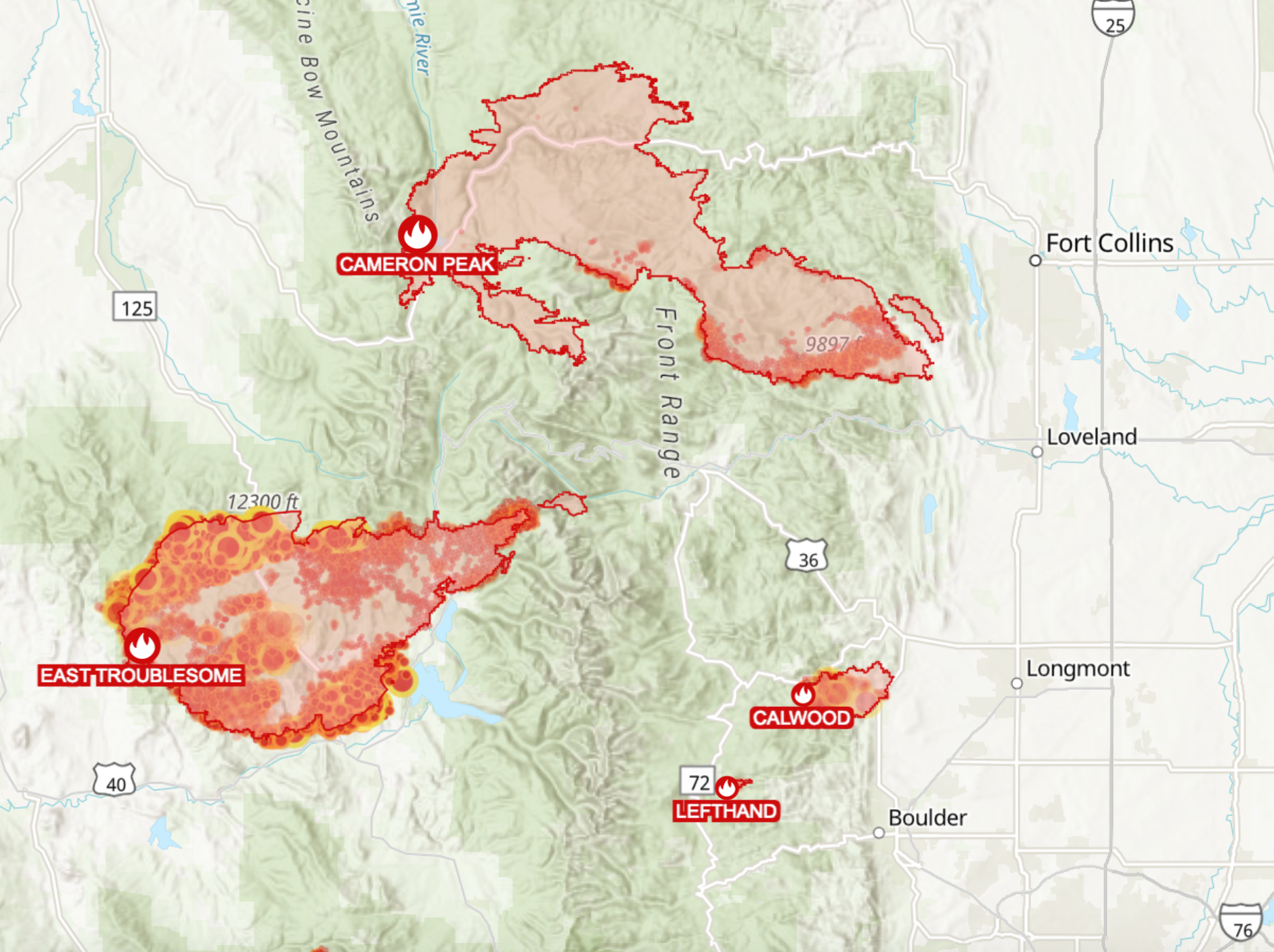 A map of the East Troublesome and Cameron Peak fires