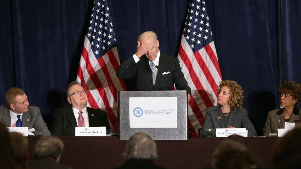 U.S. Vice President Joe Biden delivers remarks during the Democratic National Committee's Winter Meeting at the Capitol Hilton February 27, 2014 in Washington, DC. Biden addressed the Association of State Democratic Chairs.