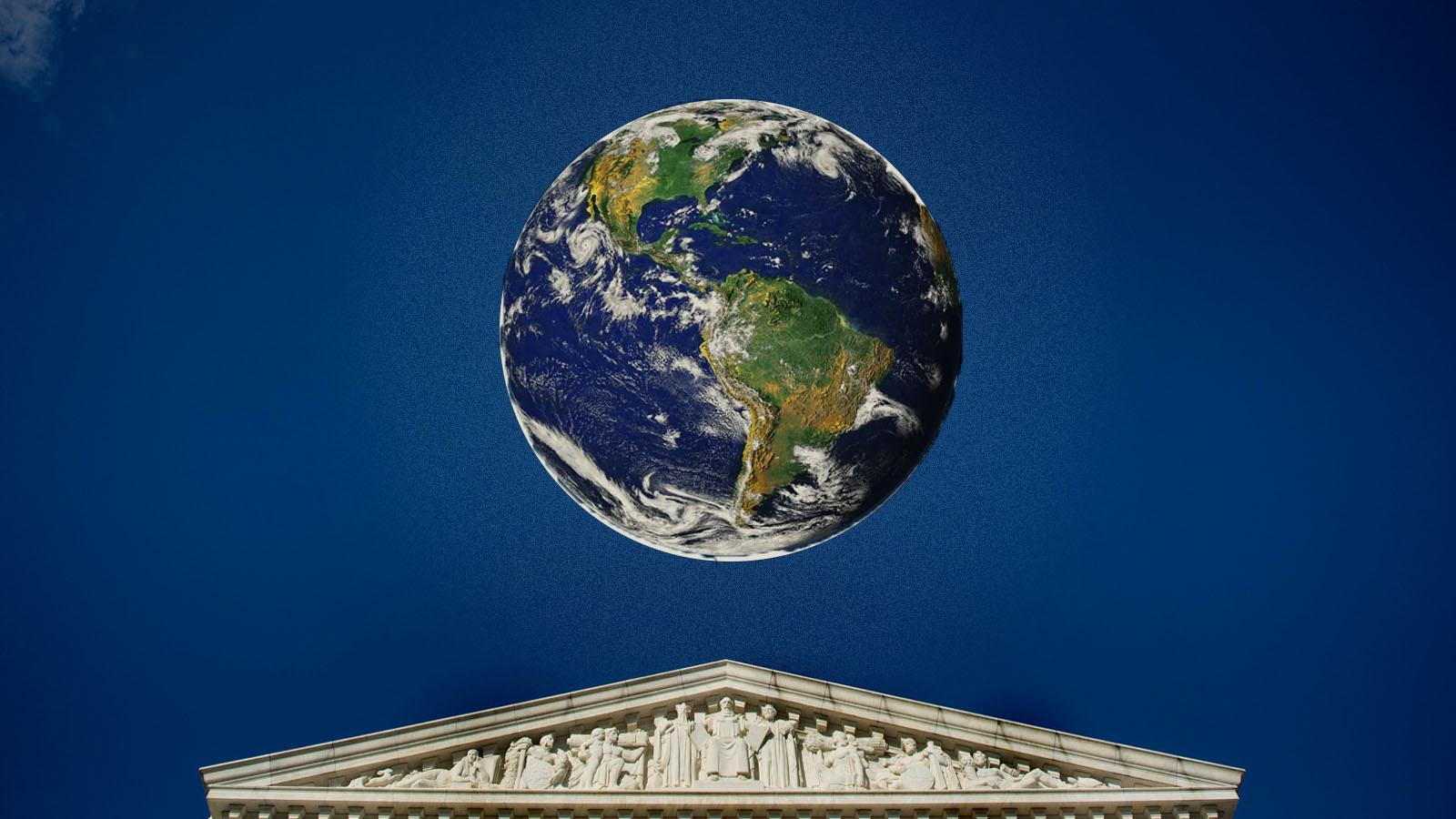 illustration of earth floating over supreme court building