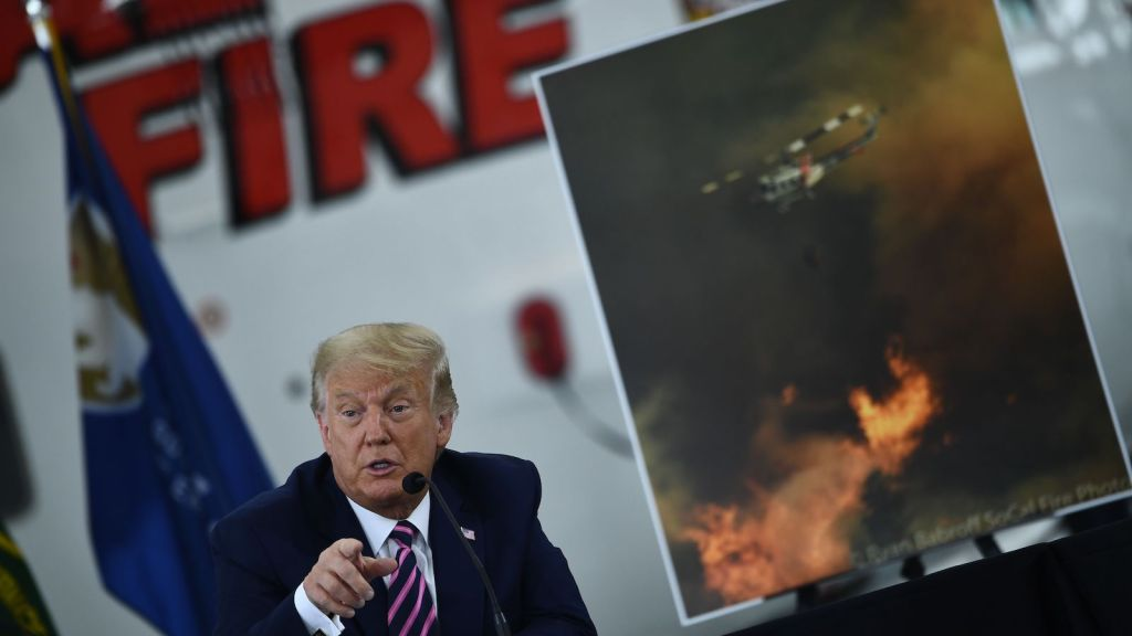 President Trump speaks at a meeting near Sacramento, California, after the state's wildfires.