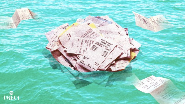 A pile of receipts floating in the ocean