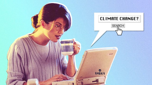 "A woman from the 1990s searching the term ""climate change?"" on her computer"