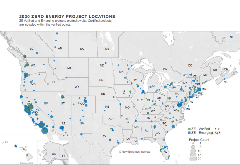 "Map showing ""zero energy"" buildings across the United States."