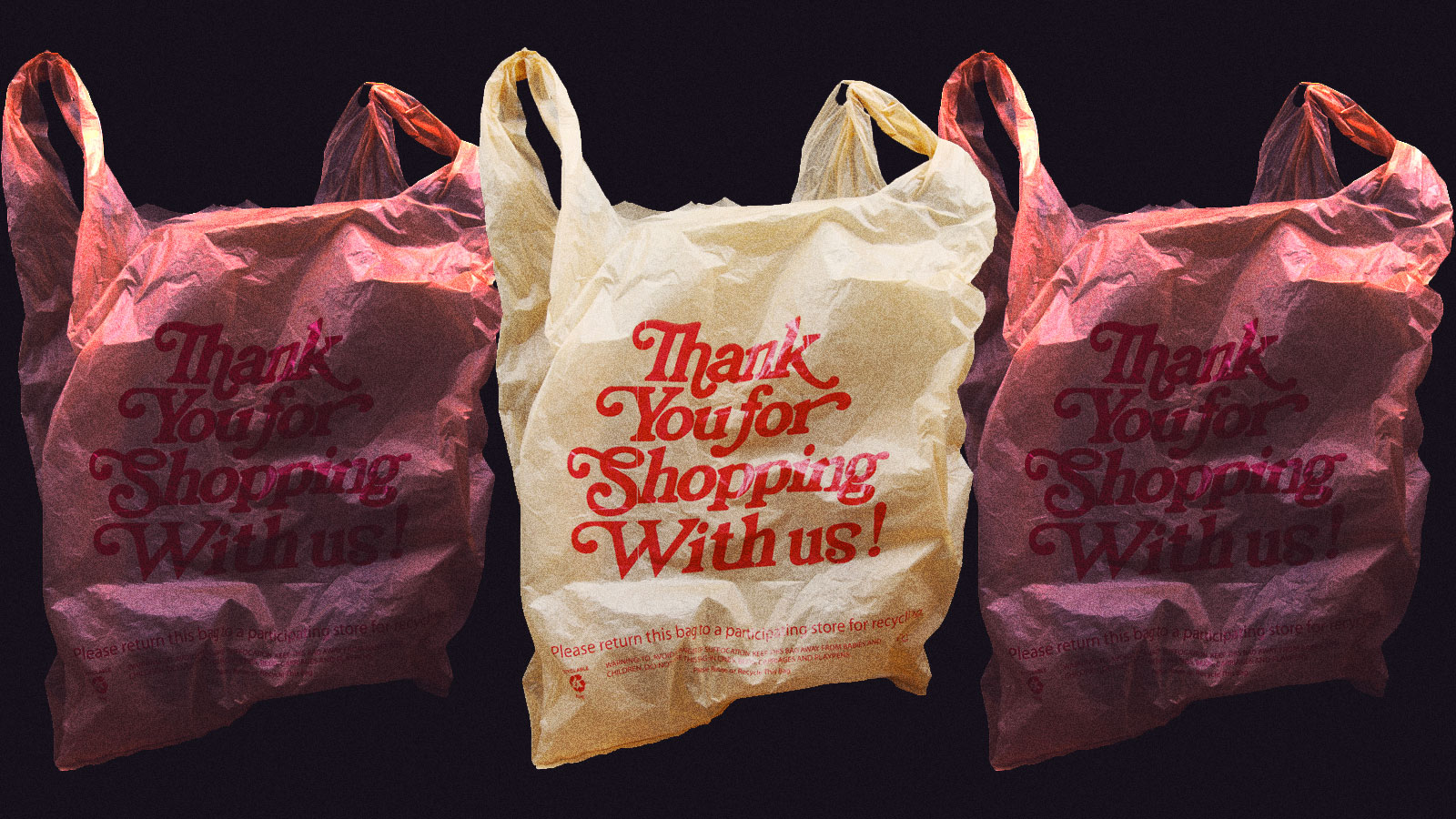 A row of plastic bags that say