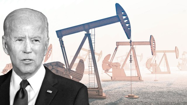 Joe Biden in front of a row of oil jacks