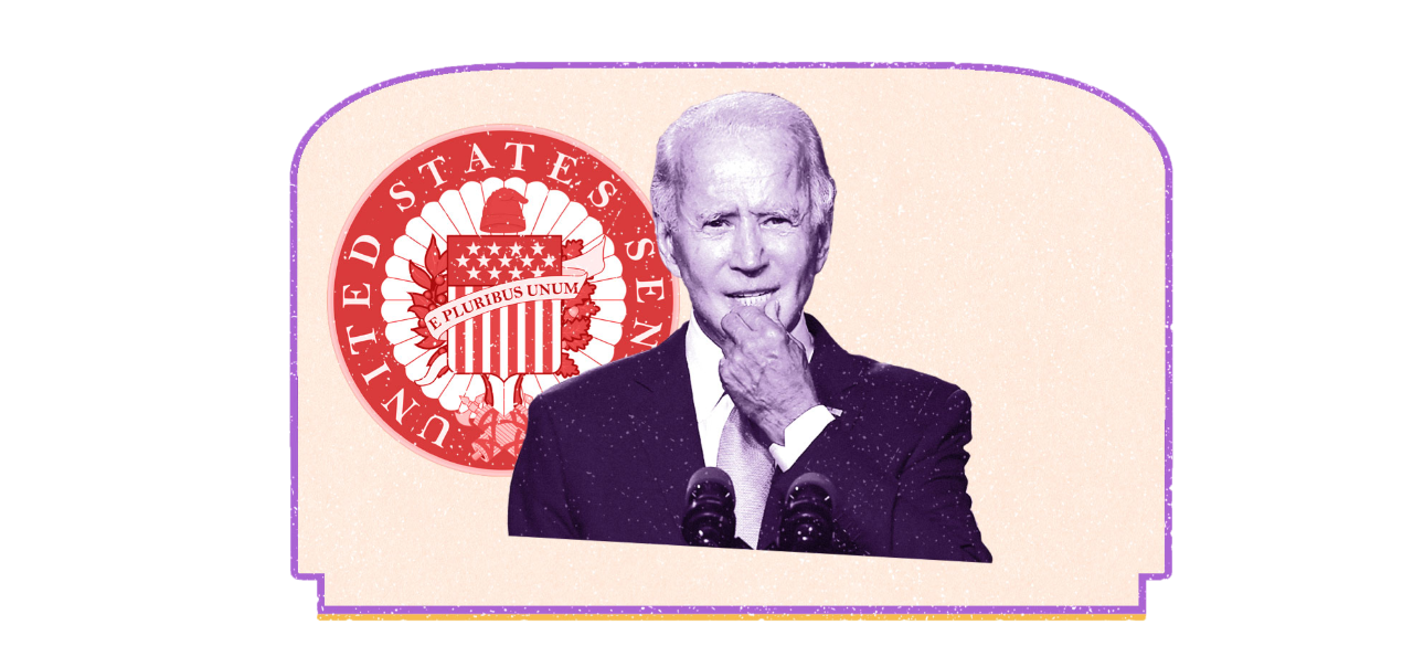 Biden standing in front of red senate seal